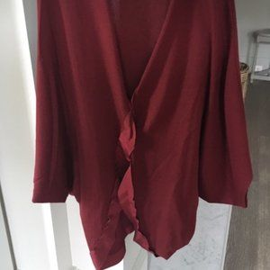 Lanvin red wool cardigan sweater